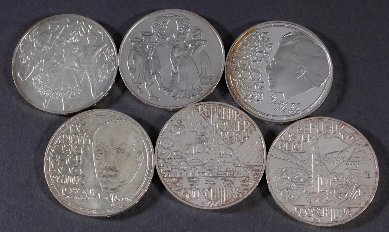 Österreich 2. Republik, 6 Stück 500 Schilling Münzen von 1992-1994-2