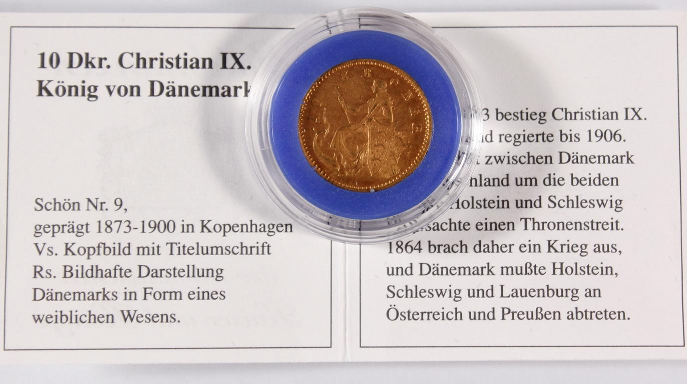 Dänemark, 10 Kronen Christian IX, 1890 Goldmünze