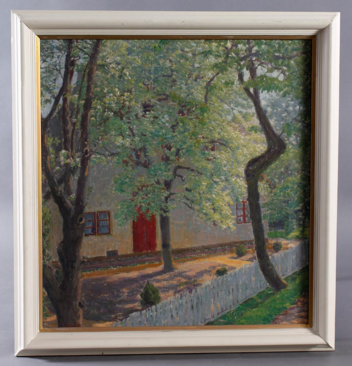 Lilla Pauline Emilie GÄDE (1852-1932), Blühende Bäume vor einem Gehöft