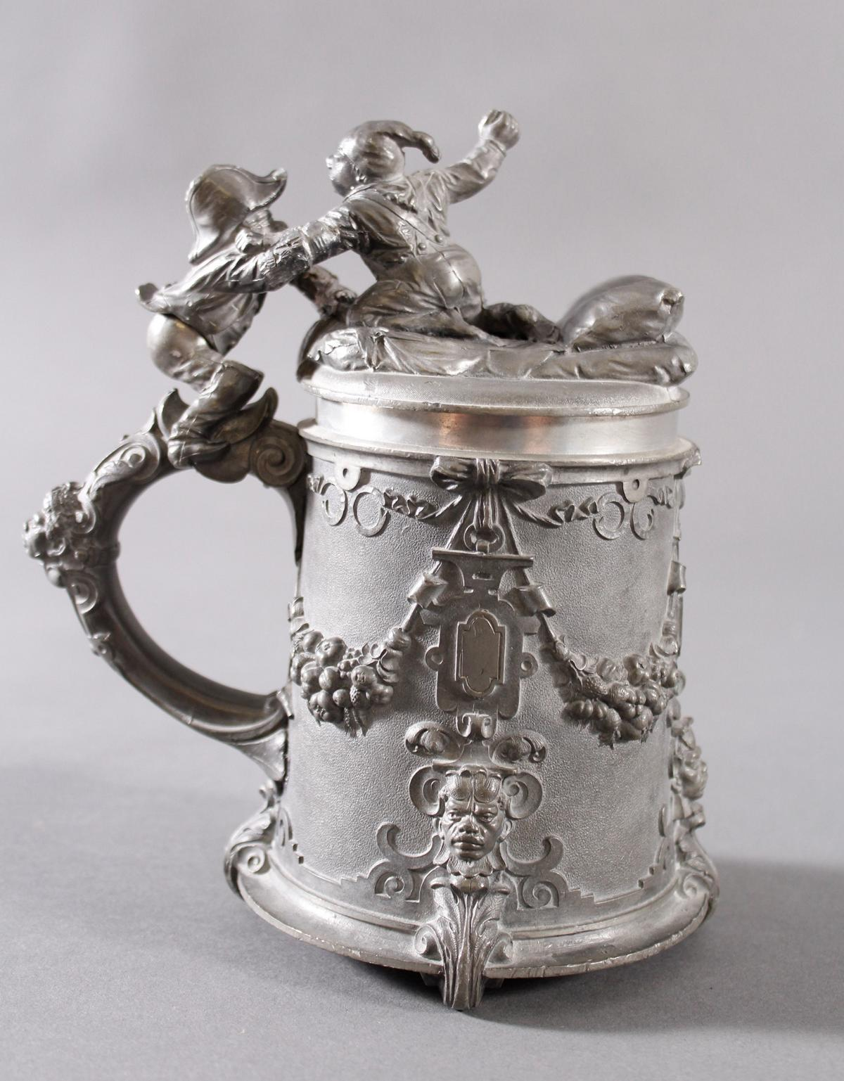 Zinn Bierkrug, Deutsch um 1890-3