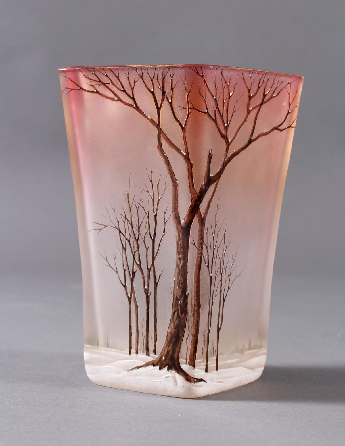 Jugendstil Glas Ziervase 'Paysage de neige', Frankreich um 1920