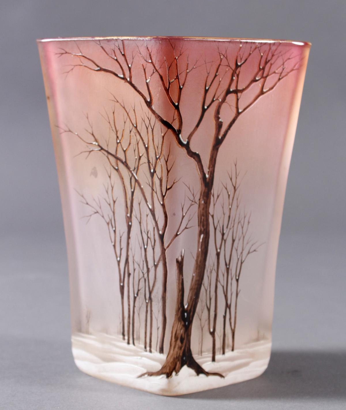 Jugendstil Glas Ziervase 'Paysage de neige', Frankreich um 1920-2