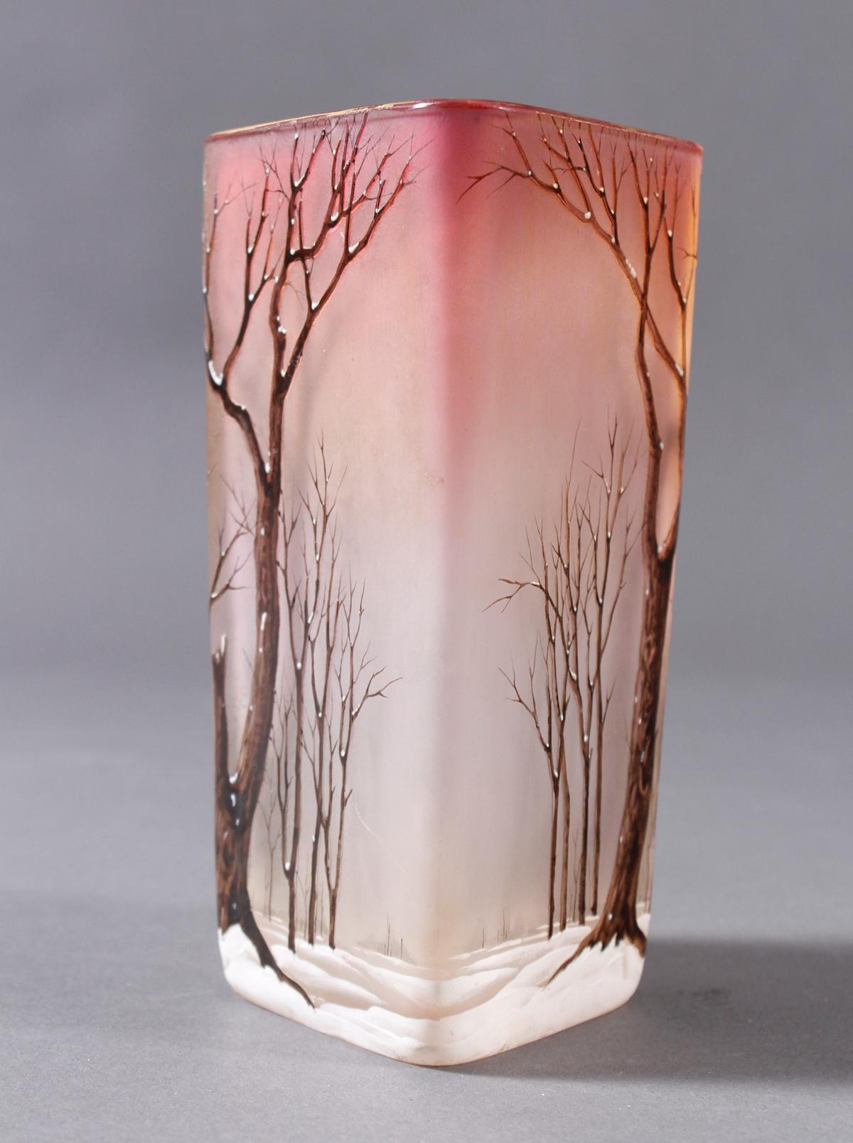 Jugendstil Glas Ziervase 'Paysage de neige', Frankreich um 1920-3