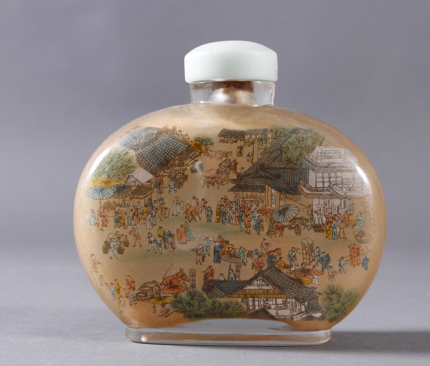 Große Glas Snuffbottle, 1. Hälfte 20. Jahrhundert