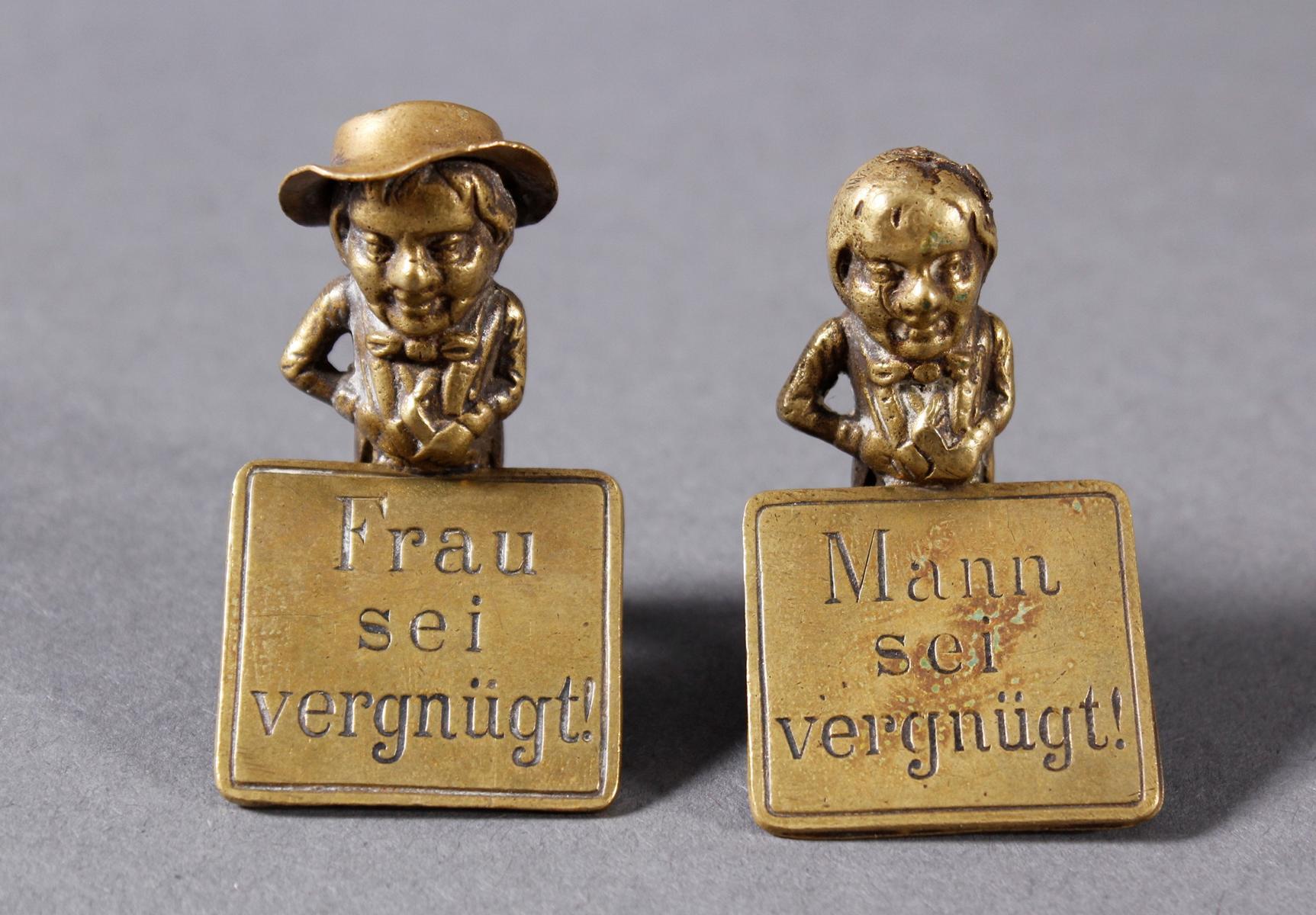 2 Tisch-Bronzeaufsteller, Deutsch, um 1900