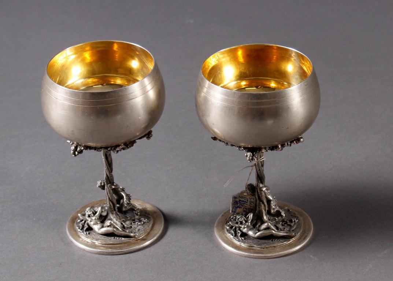 2 Erotika Silberpokale, Italien, Mitte 20. Jahrhundert