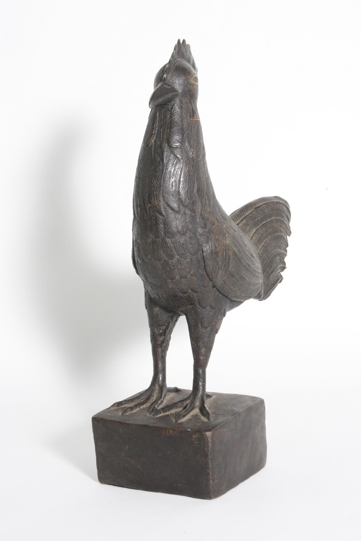 Bronze Hahn, Benin, Nigeria, 1. Hälfte 20. Jh.-2