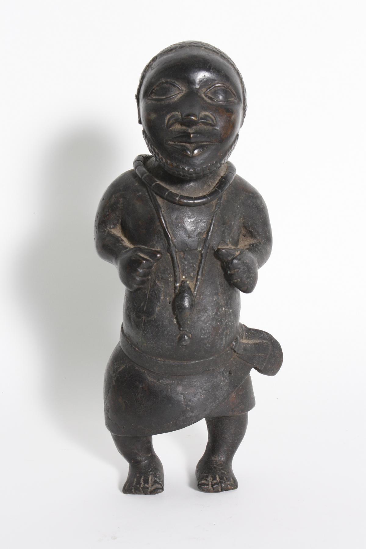 Bronze-Figur, Hofzwerg, Benin, Nigeria, 1. Hälfte 20. Jh.