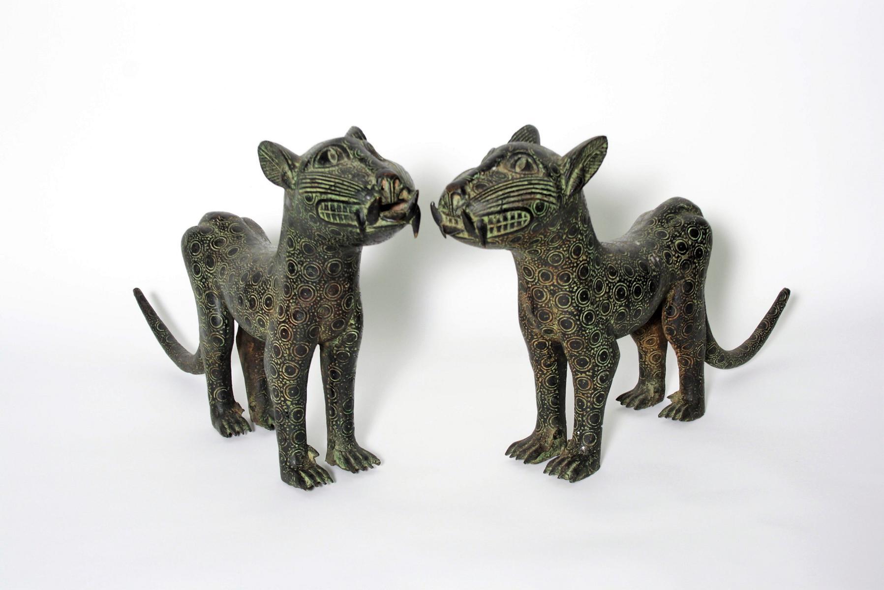 Leoparden Paar, Benin, Nigeria, 1. Hälfte 20. Jh.