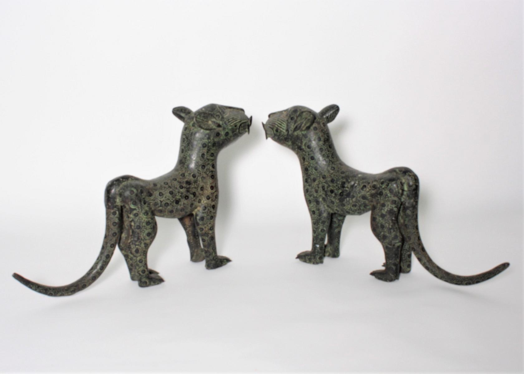 Leoparden Paar, Benin, Nigeria, 1. Hälfte 20. Jh.-2