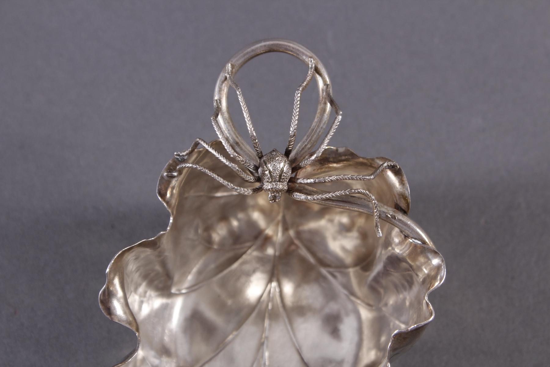 2 Sterlingsilber-Anbietschälchen mit plastisch aufgesetzten Spinnen-5