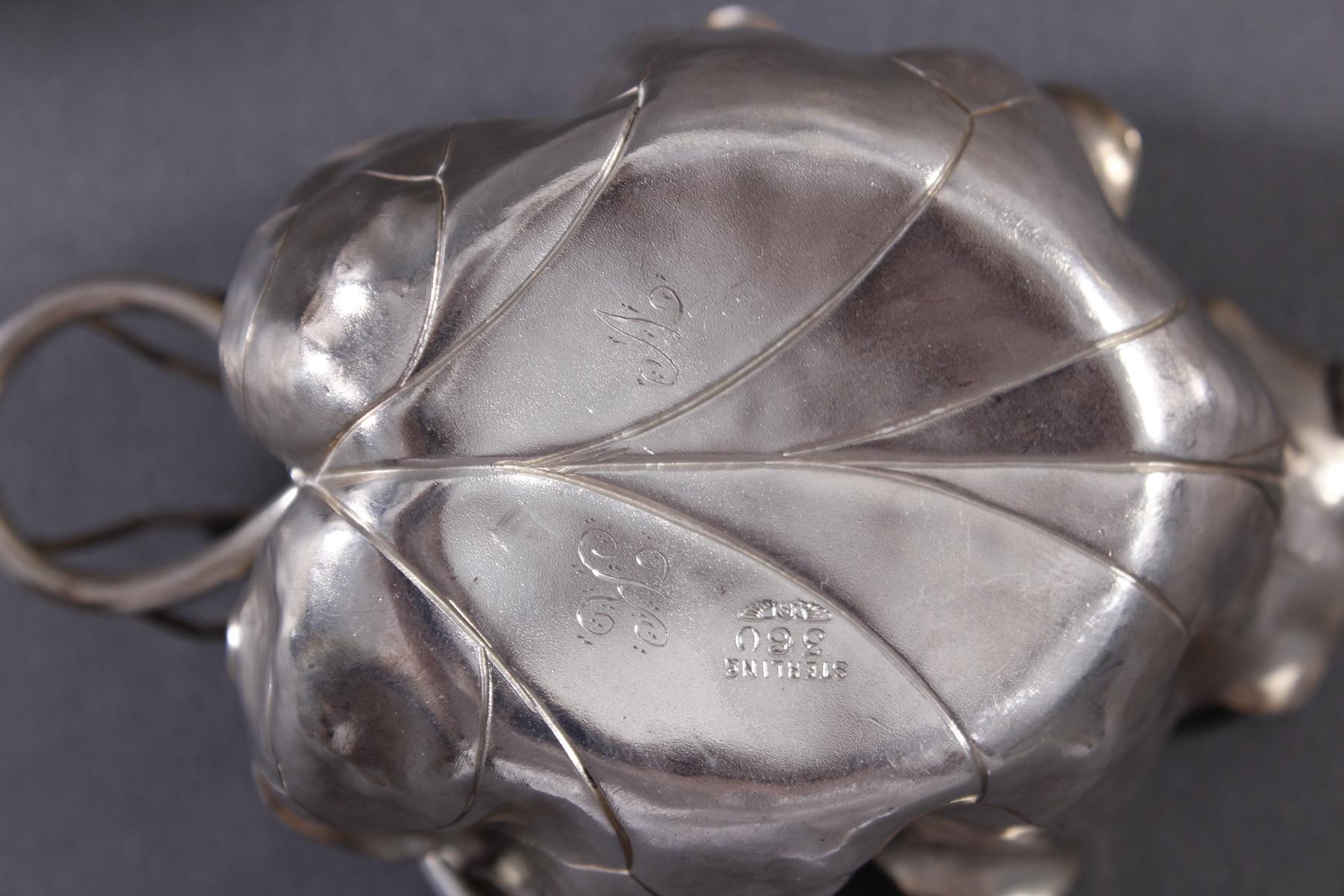 2 Sterlingsilber-Anbietschälchen mit plastisch aufgesetzten Spinnen-6