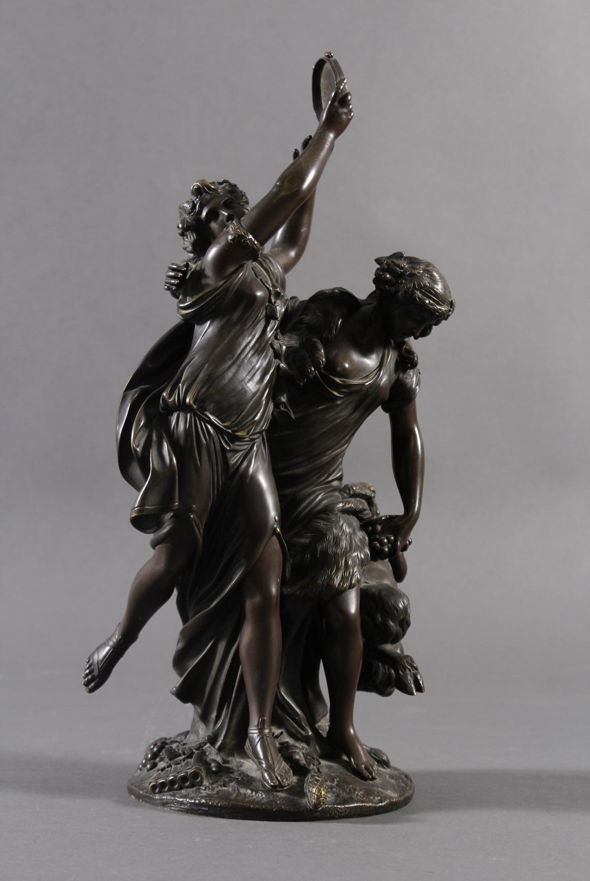 Allegorische Bronzegruppe, Bachantinen mit jungen Satyr, Frankreich 18./19. Jahrhundert-3