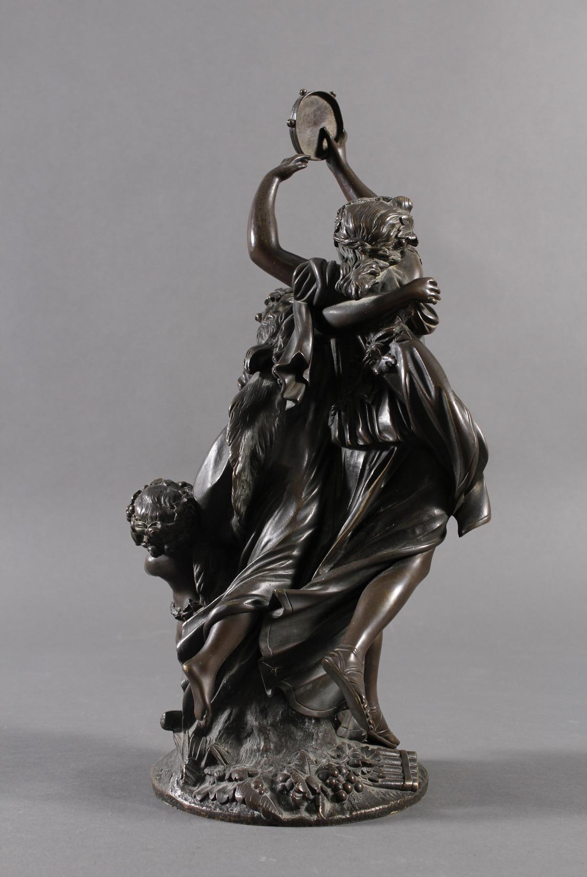 Allegorische Bronzegruppe, Bachantinen mit jungen Satyr, Frankreich 18./19. Jahrhundert-5