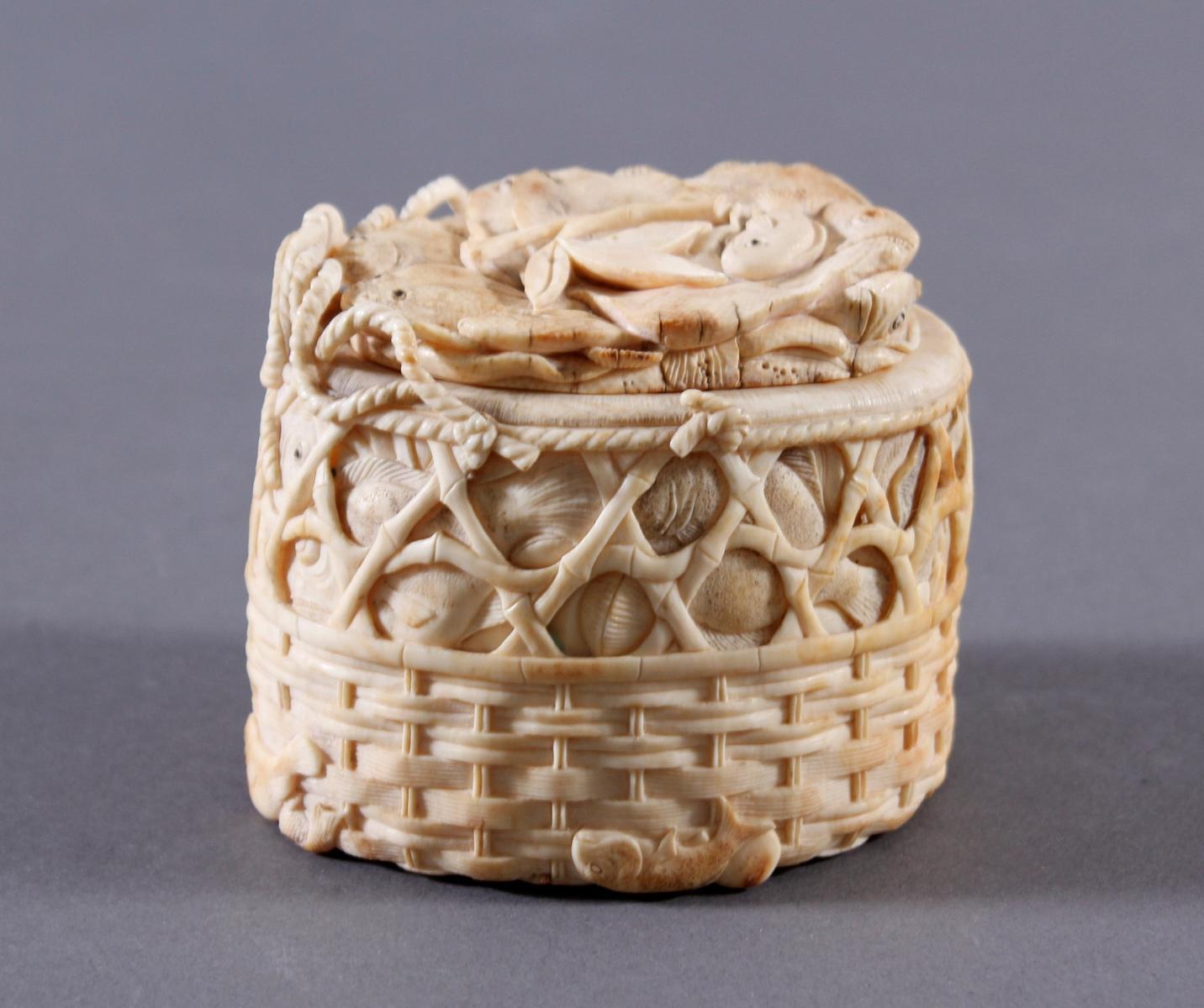 Elfenbein Deckeldose, Japan um 1900-3