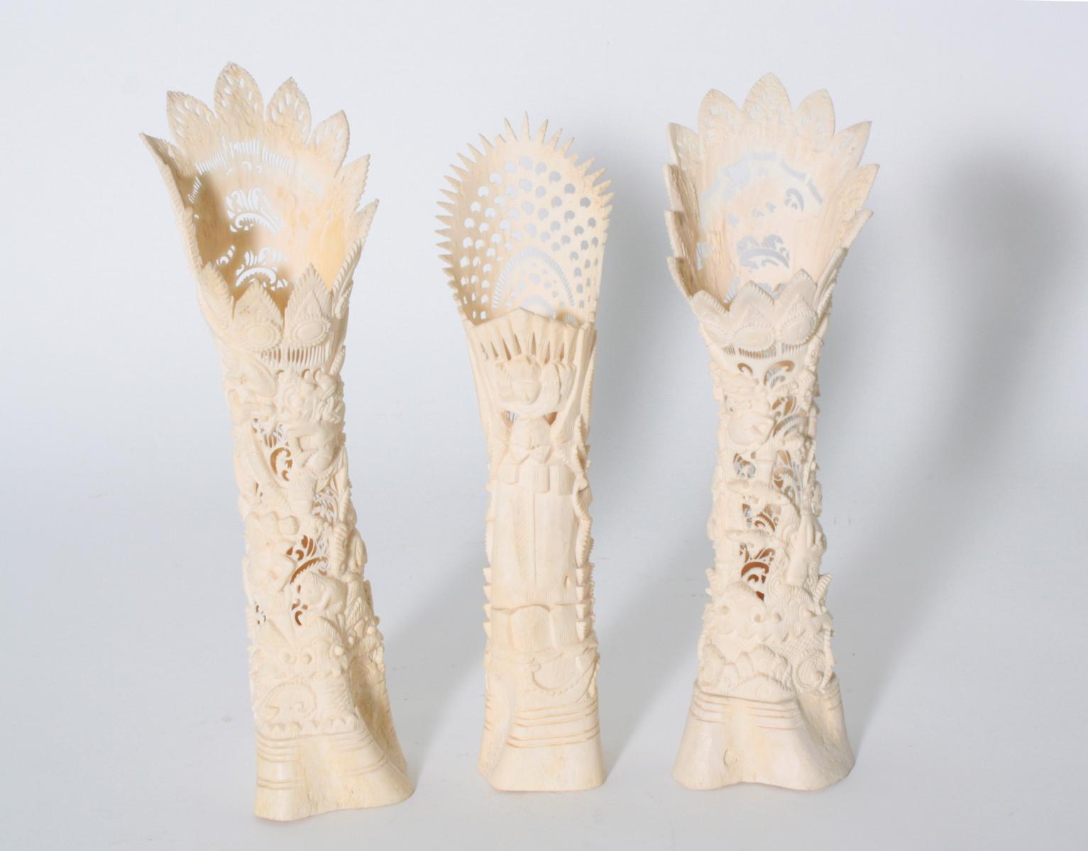Drei Knochenschnitzereien, Indonesien, 2. Hälfte 20. Jahrhundert-3