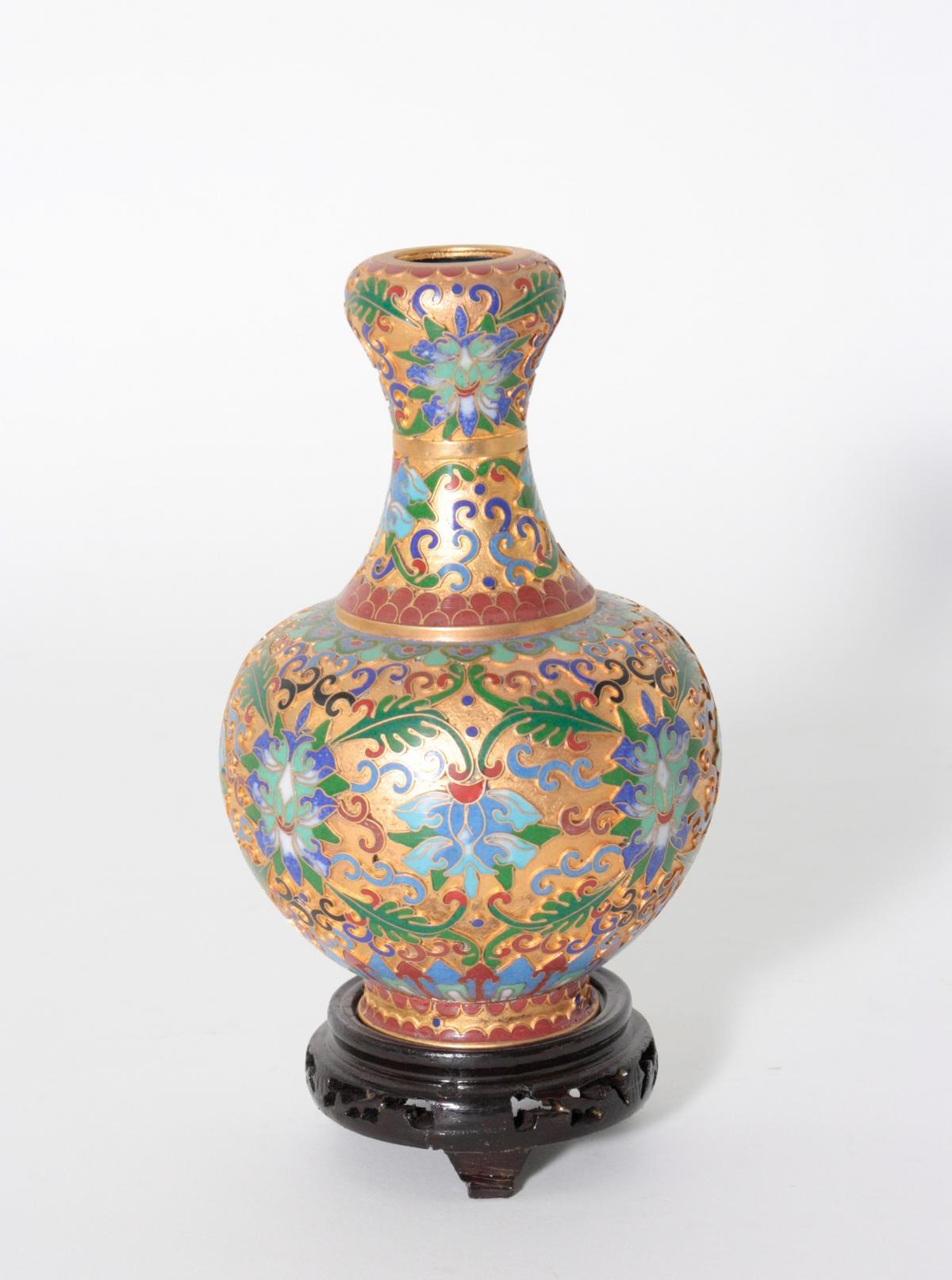 Email-Cloisonné Vase, China, 2. Hälfte 20. Jahrhundert-2