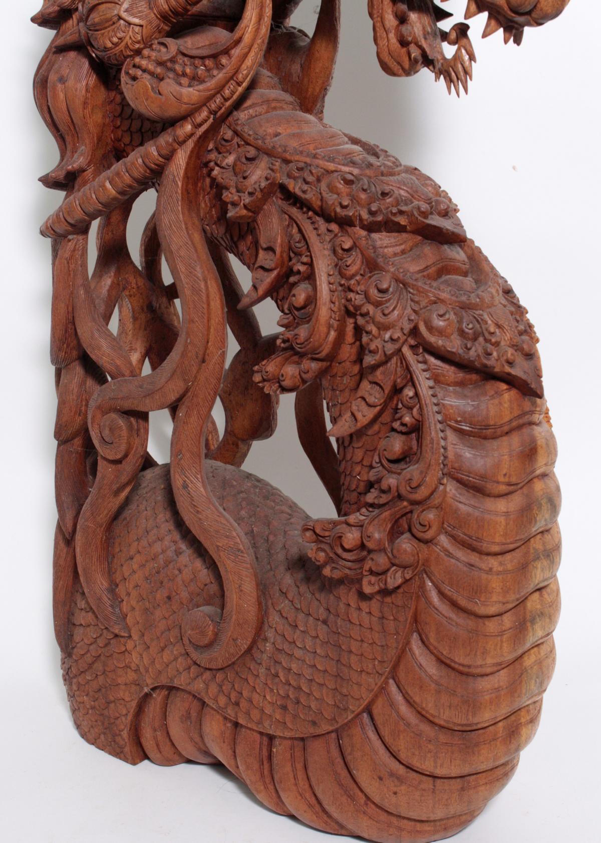 Große Holzskulptur, Drache, Indonesien, 2. Hälfte 20. Jahrhundert-6