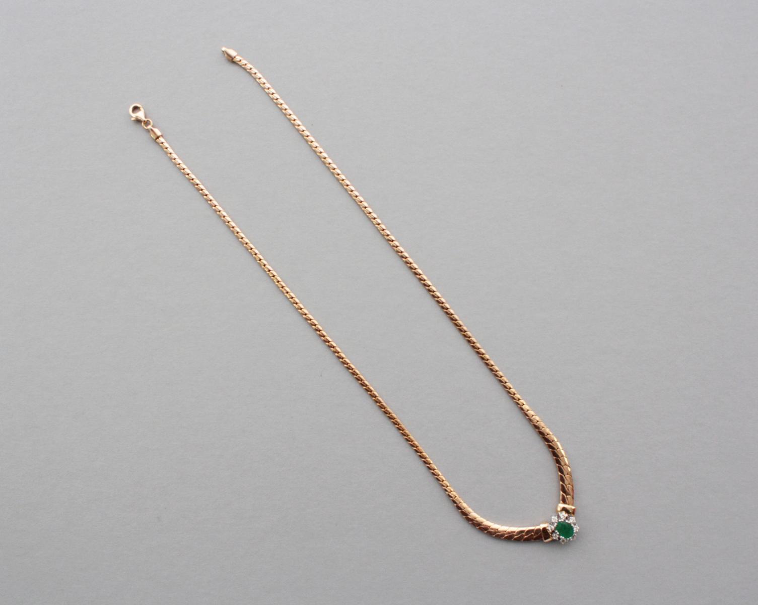 Collier mit Smaragd und Diamanten  14 Karat Gelbgold-2
