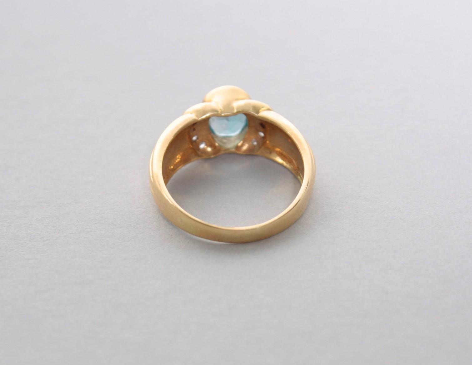 Gelbgoldring mit Blautopas und Diamanten, 18 Karat-2