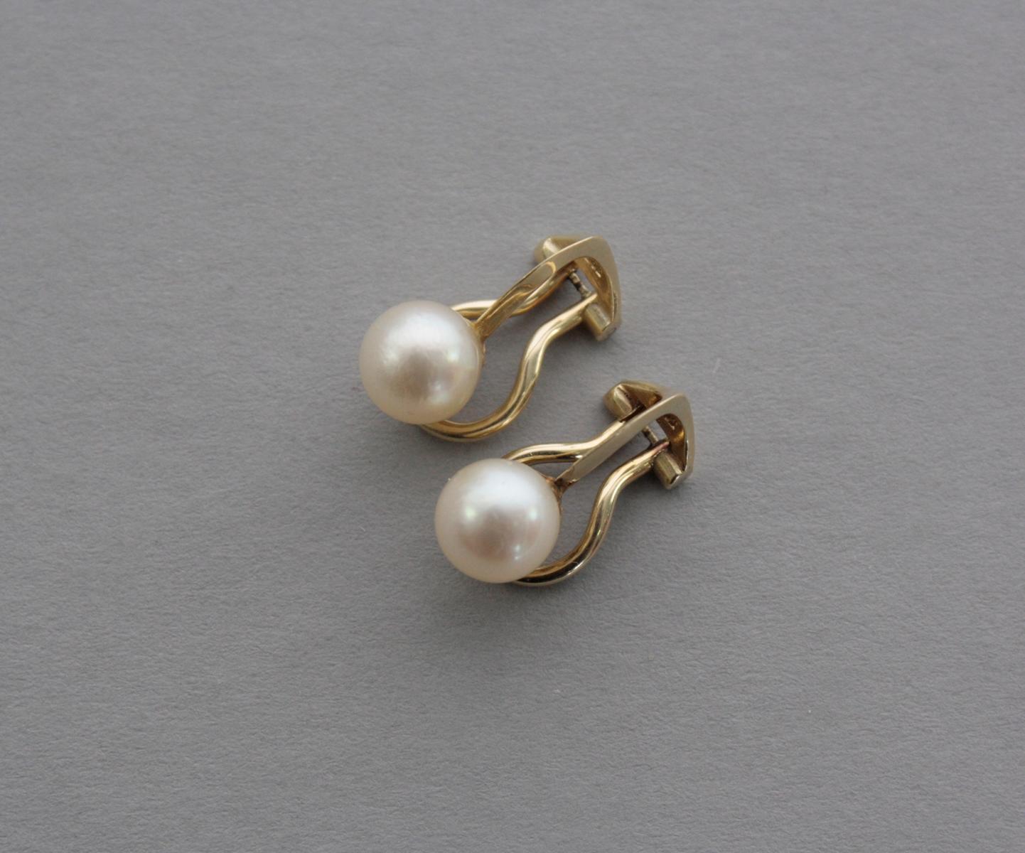 Ohrclips mit Perlen, 14 Karat Gelbgold