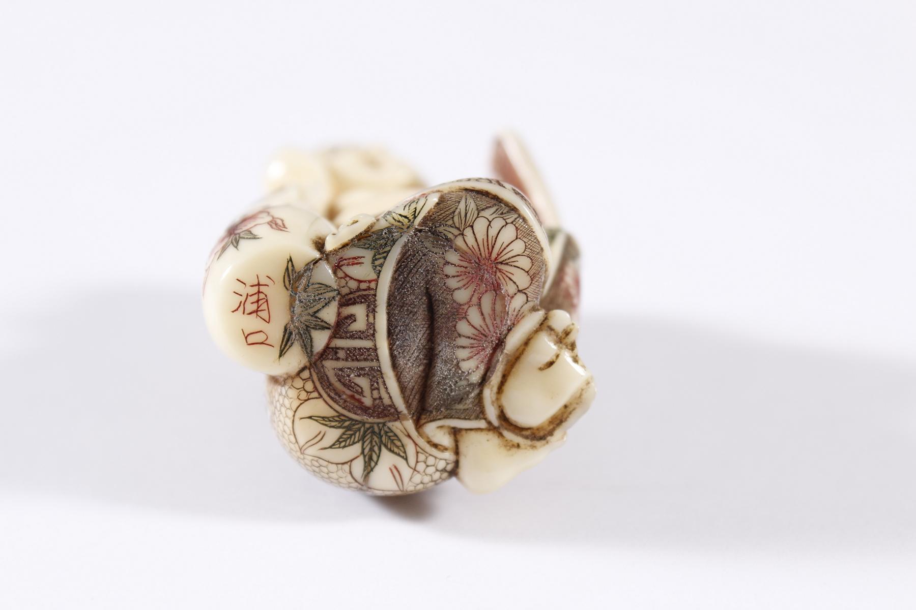 Elfenbein Netsuke, Japan, Meiji Periode-5