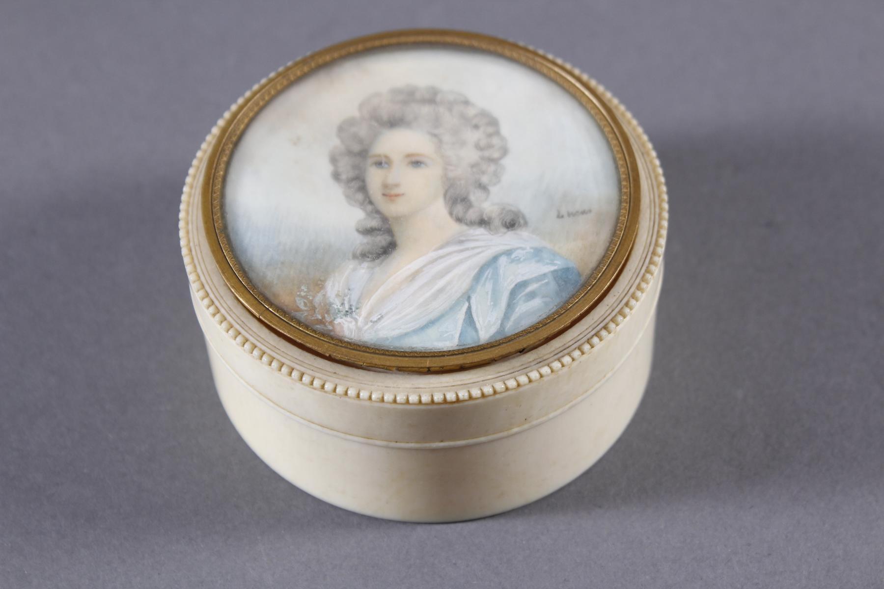 Elfenbein Dose, Frankreich 19. Jahrhundert