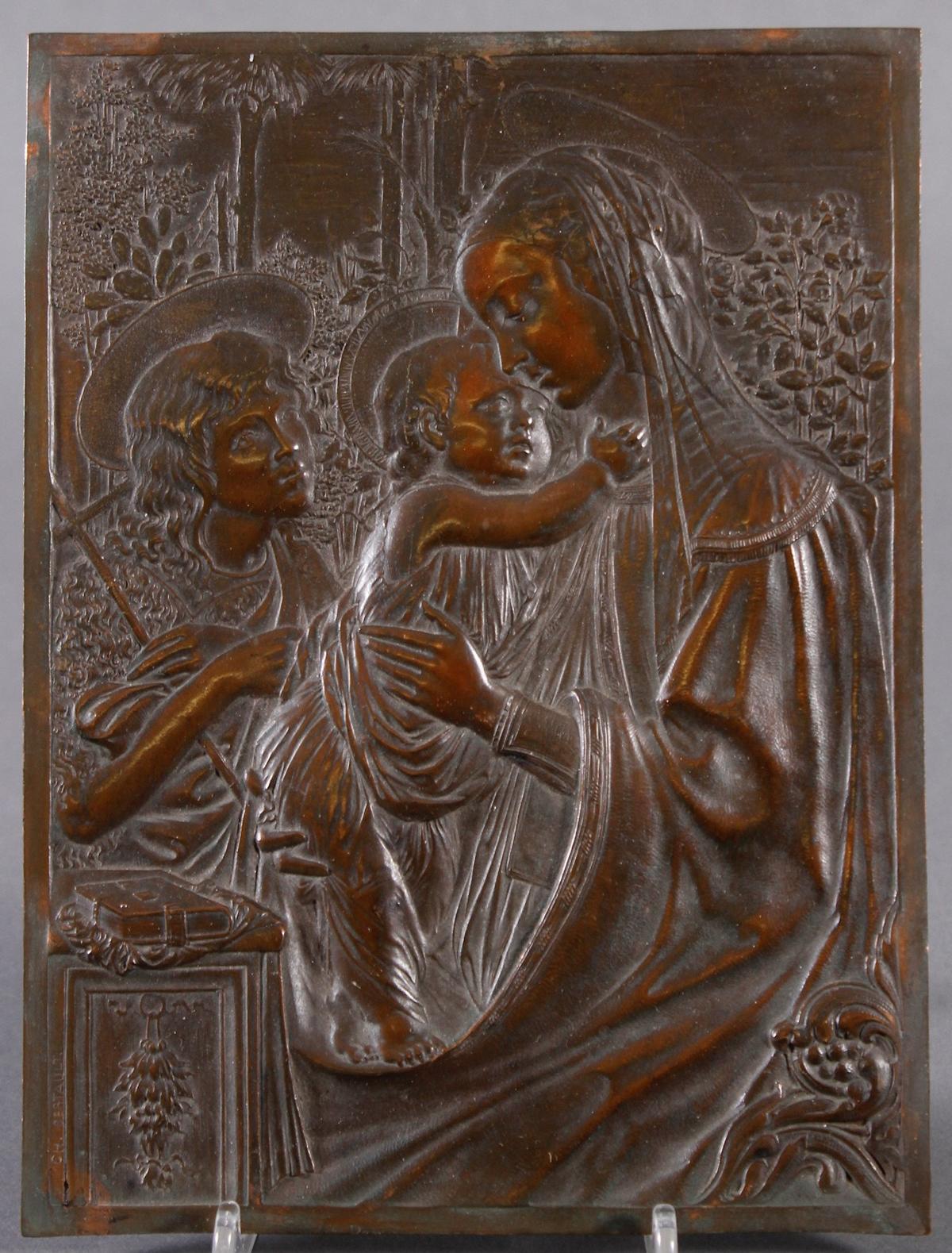 Feine Kupfer-Reliefplatte, Frankreich, Charles BERTAULT um 1900