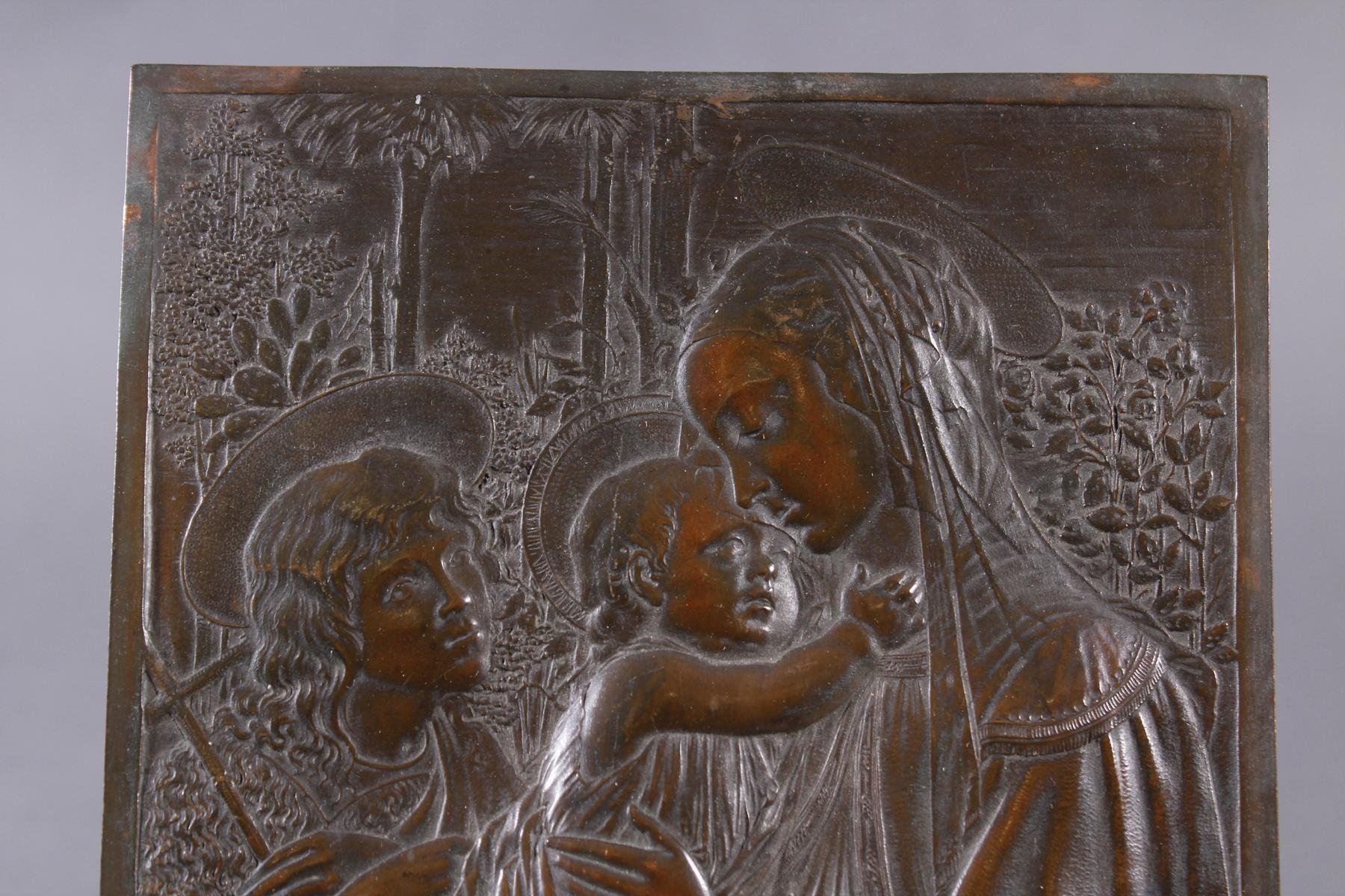 Feine Kupfer-Reliefplatte, Frankreich, Charles BERTAULT um 1900-2