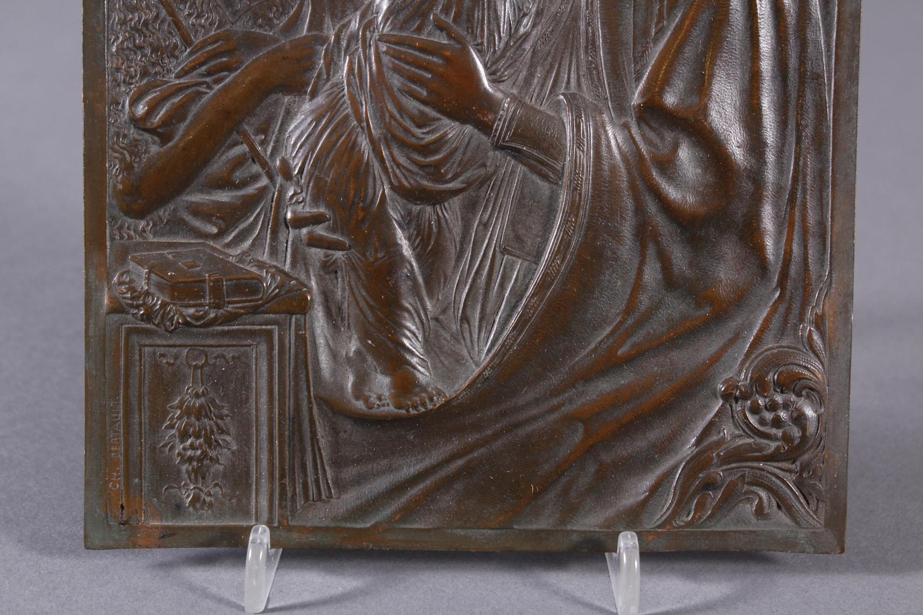 Feine Kupfer-Reliefplatte, Frankreich, Charles BERTAULT um 1900-3