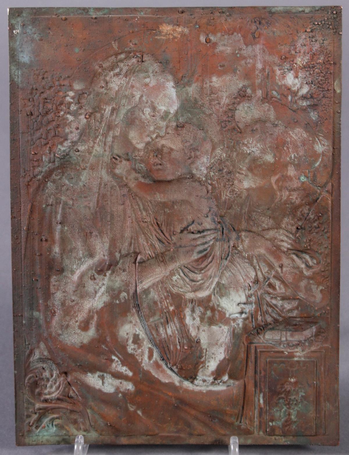 Feine Kupfer-Reliefplatte, Frankreich, Charles BERTAULT um 1900-4