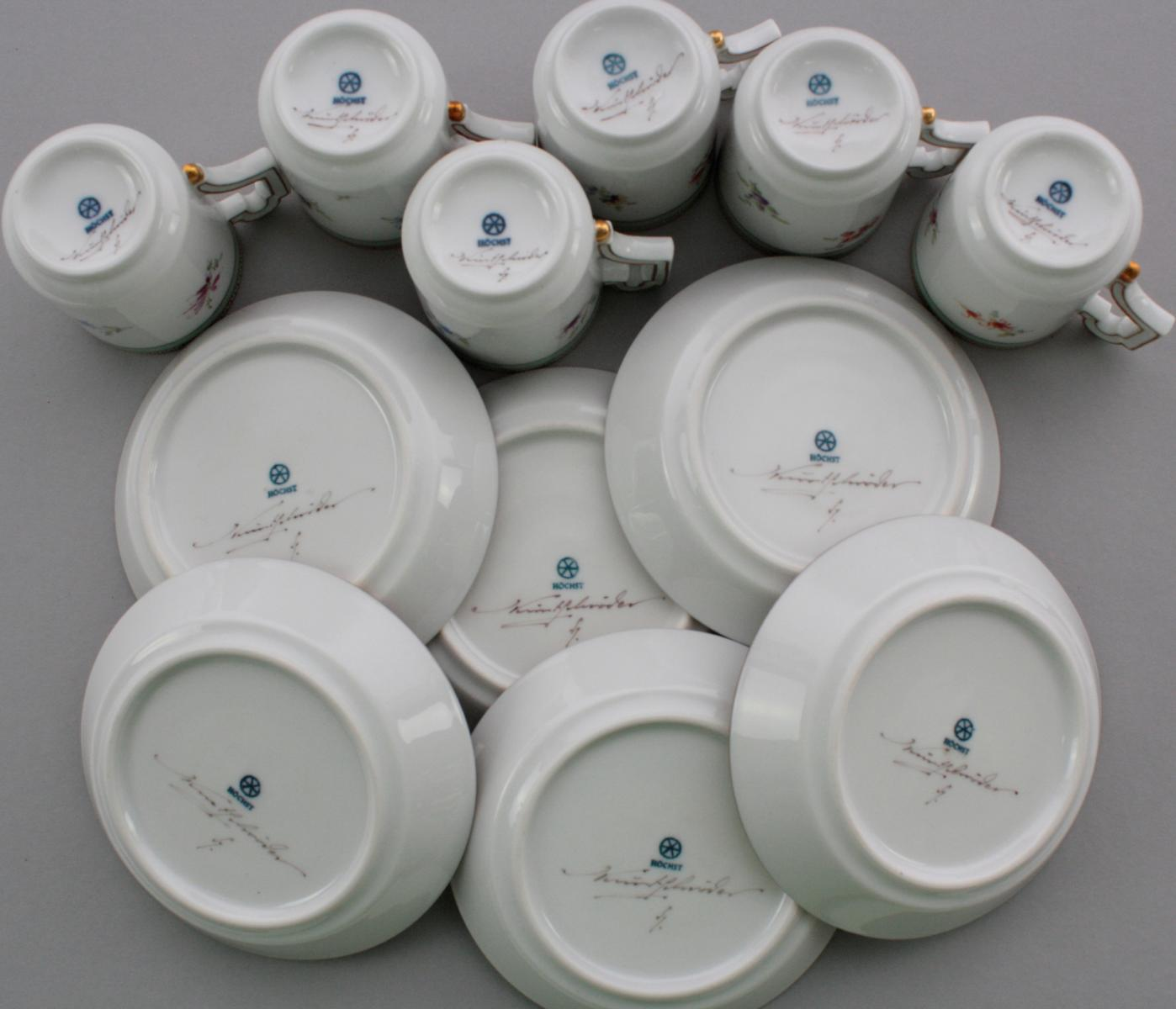 6 Mokkatassen, Form Kurfürst, Höchster Porzellanmanufaktur-2