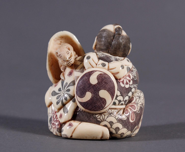 Elfenbeinfigur Okimono, Japan um 1920-2