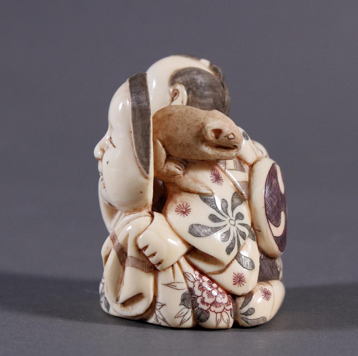 Elfenbeinfigur Okimono, Japan um 1920-3