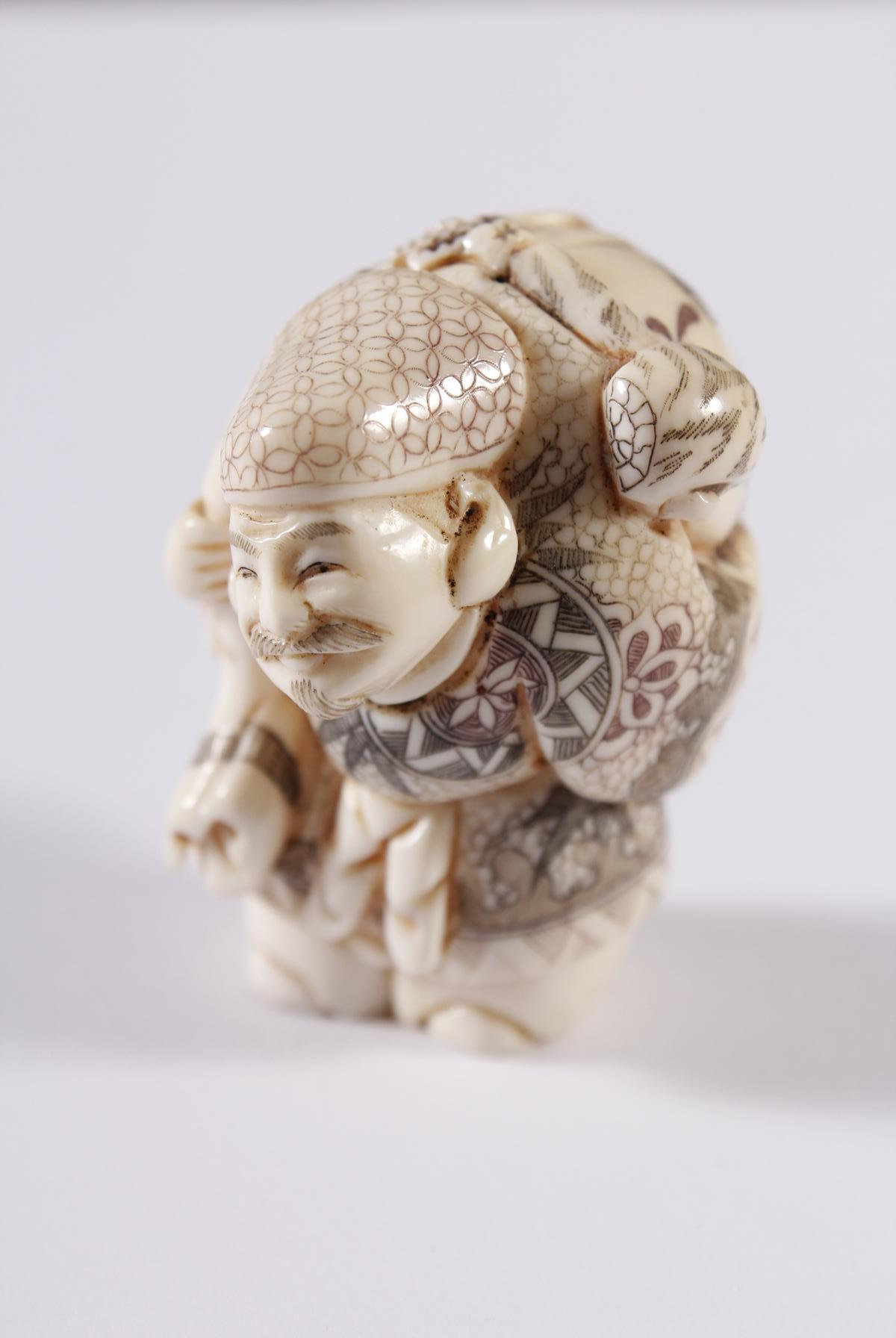Kleines Elfenbein Okimono, Unsterblicher, Japan Meiji Periode