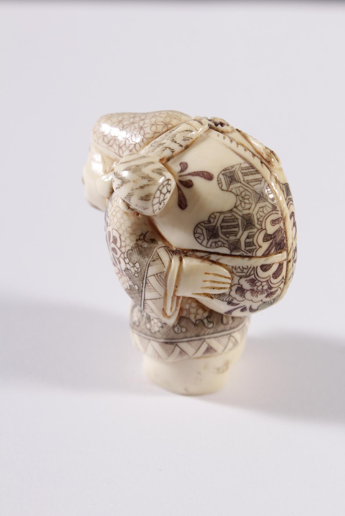 Kleines Elfenbein Okimono, Unsterblicher, Japan Meiji Periode-2