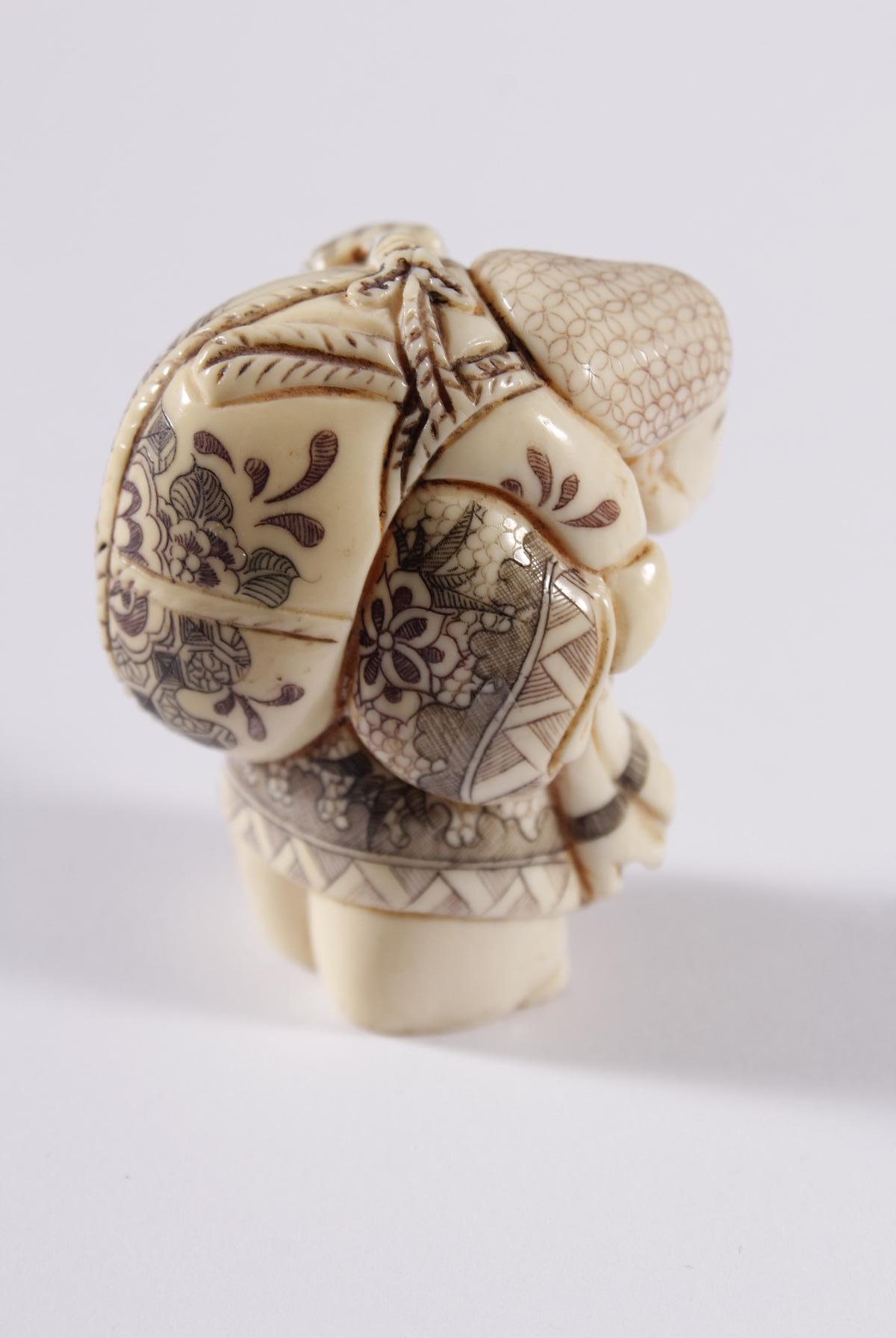 Kleines Elfenbein Okimono, Unsterblicher, Japan Meiji Periode-3