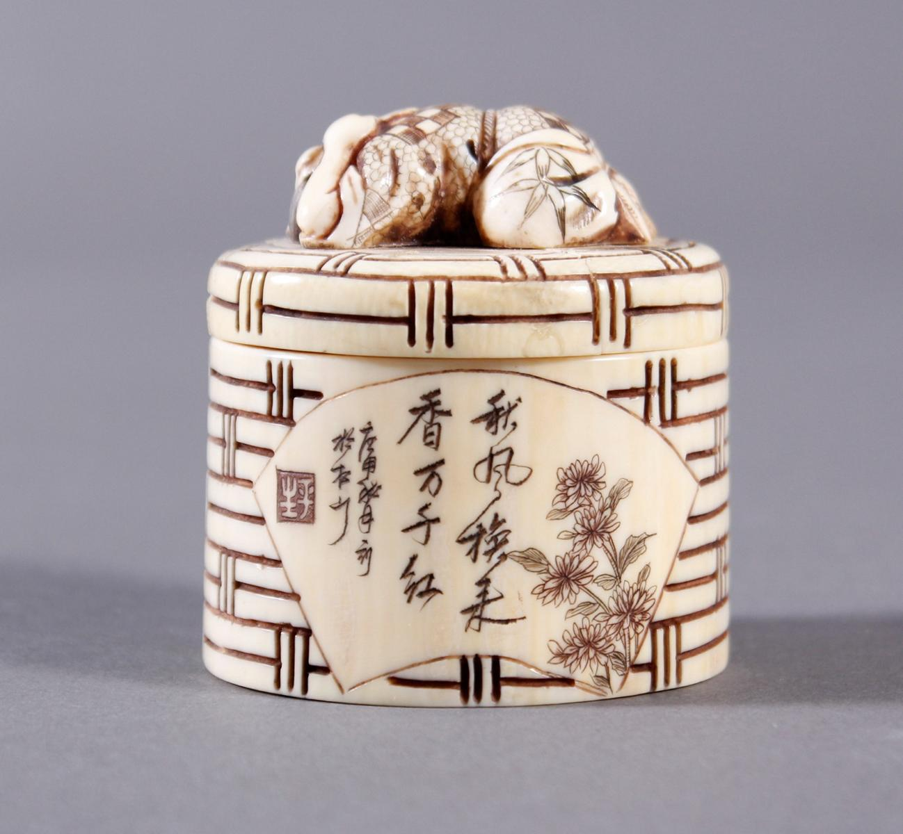 Elfenbeindose, Japan, Meiji-Periode-3