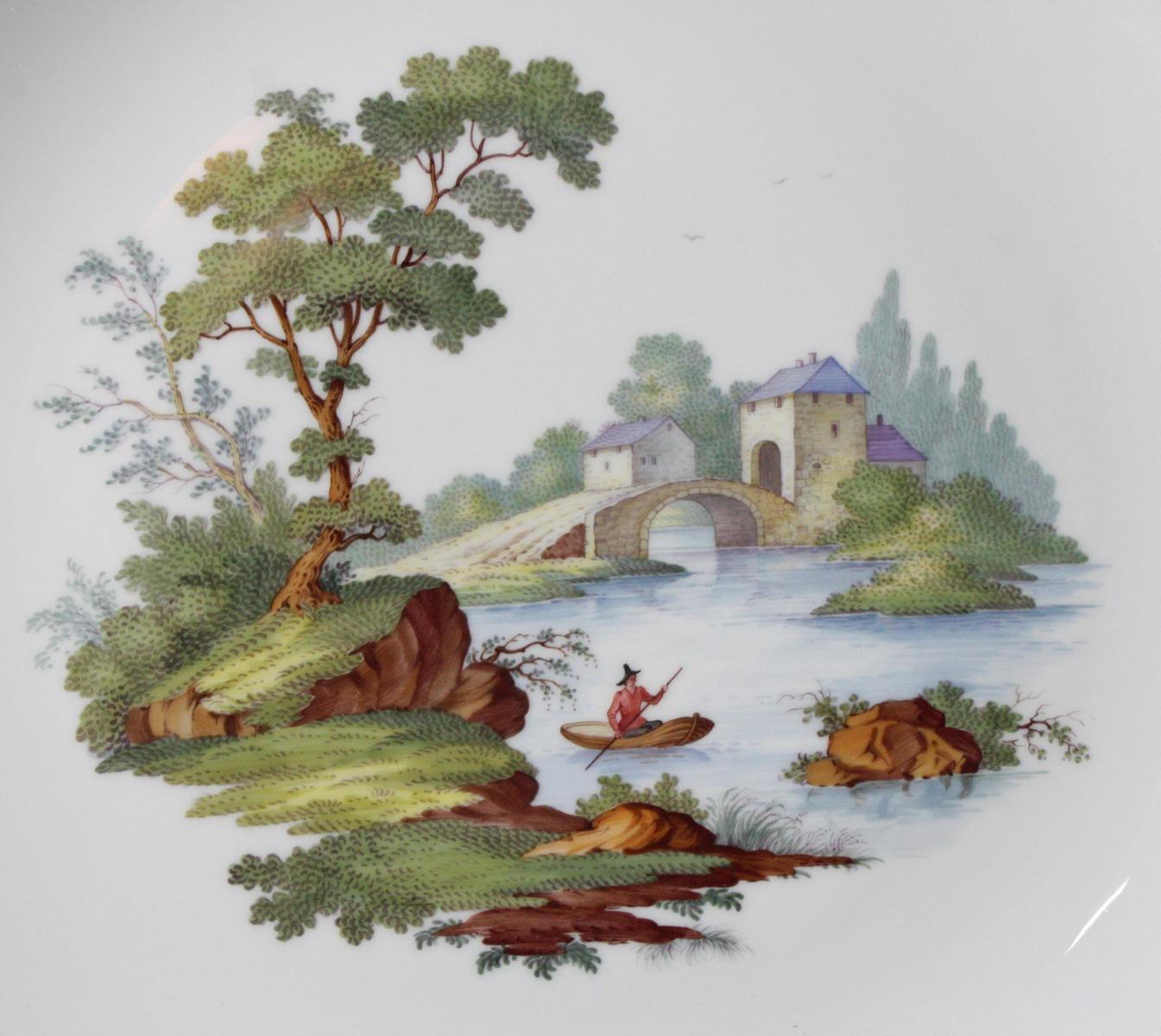 Wandteller 'Bunte Landschaft', Höchst, signiert Kurt Schröder-2