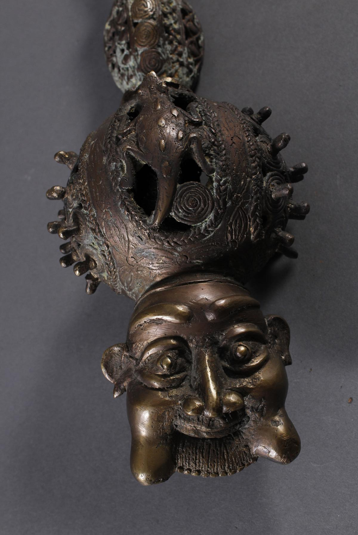 Bronze Zierpfeife, Bafum / Kamerun 20.- Jh--2