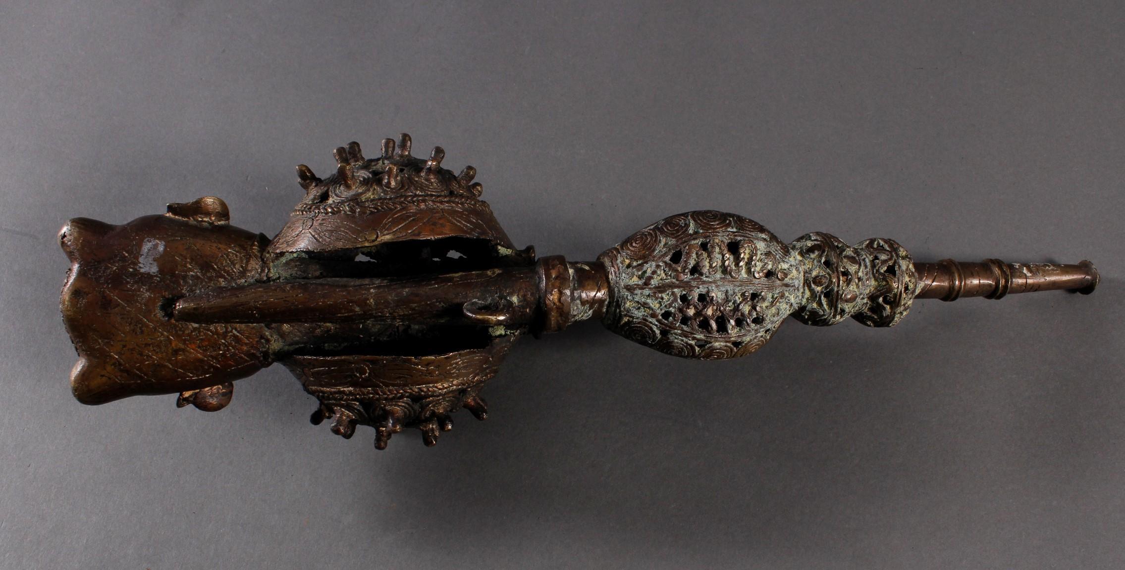 Bronze Zierpfeife, Bafum / Kamerun 20.- Jh--5