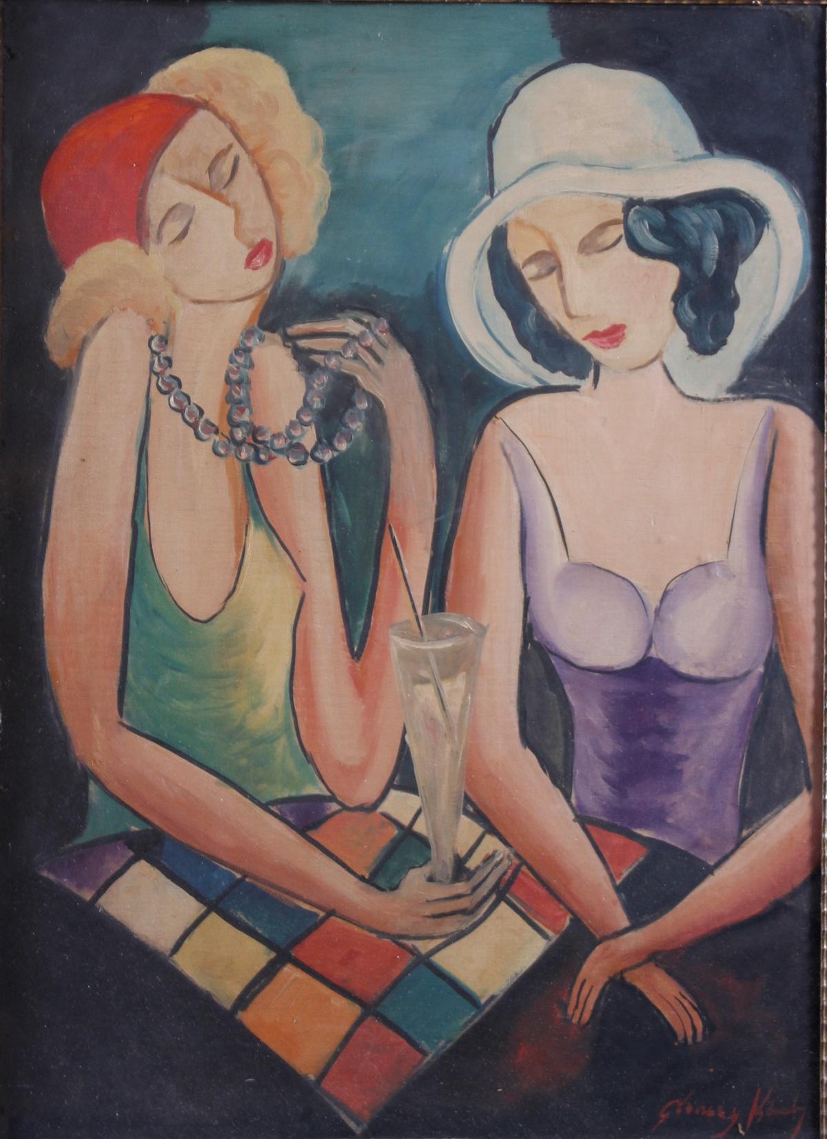 Gemälde: 2 Freundinnen, um 1930-2