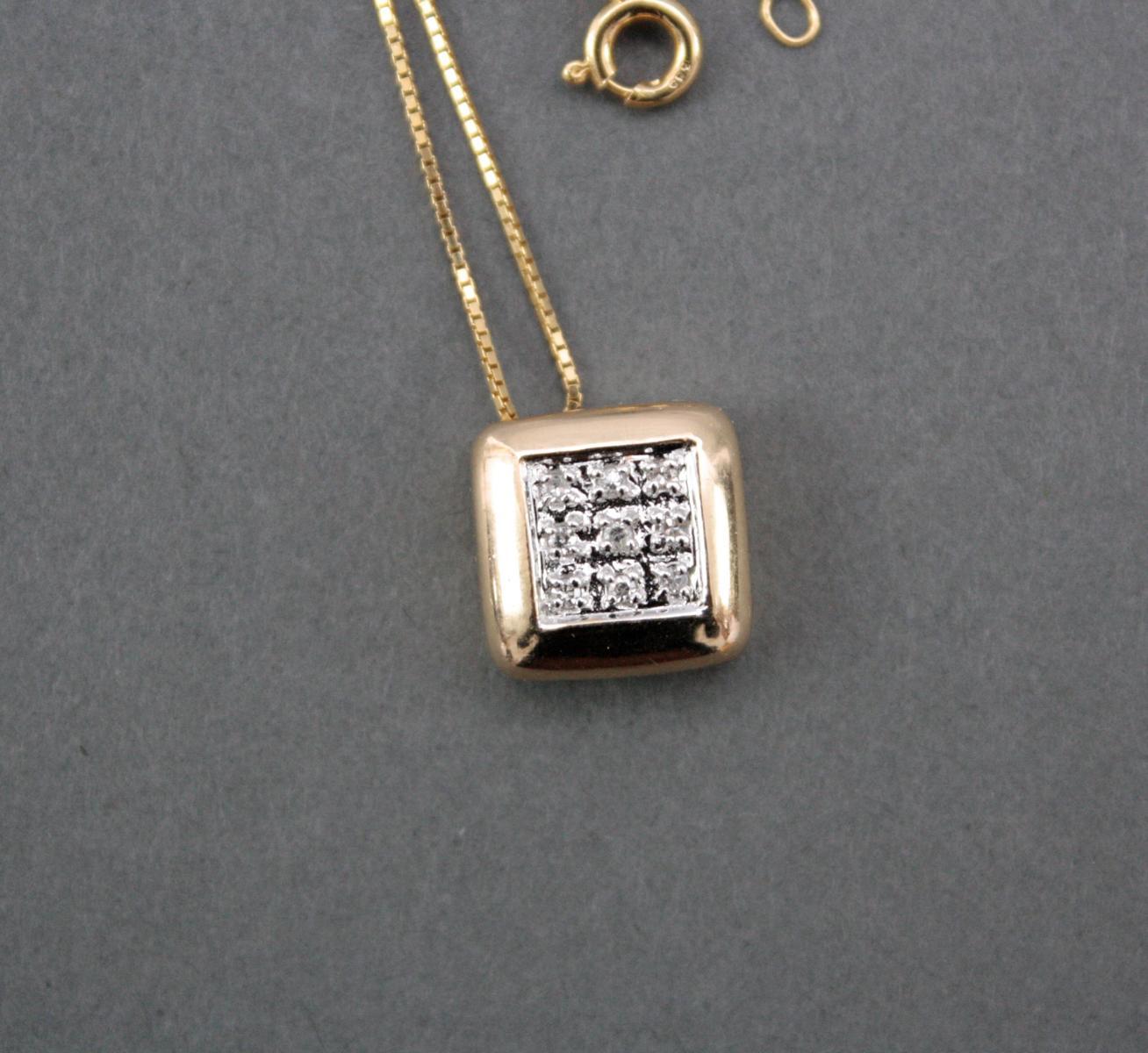 Halskette mit Diamantanhänger, 14 Karat Gelbgold-2