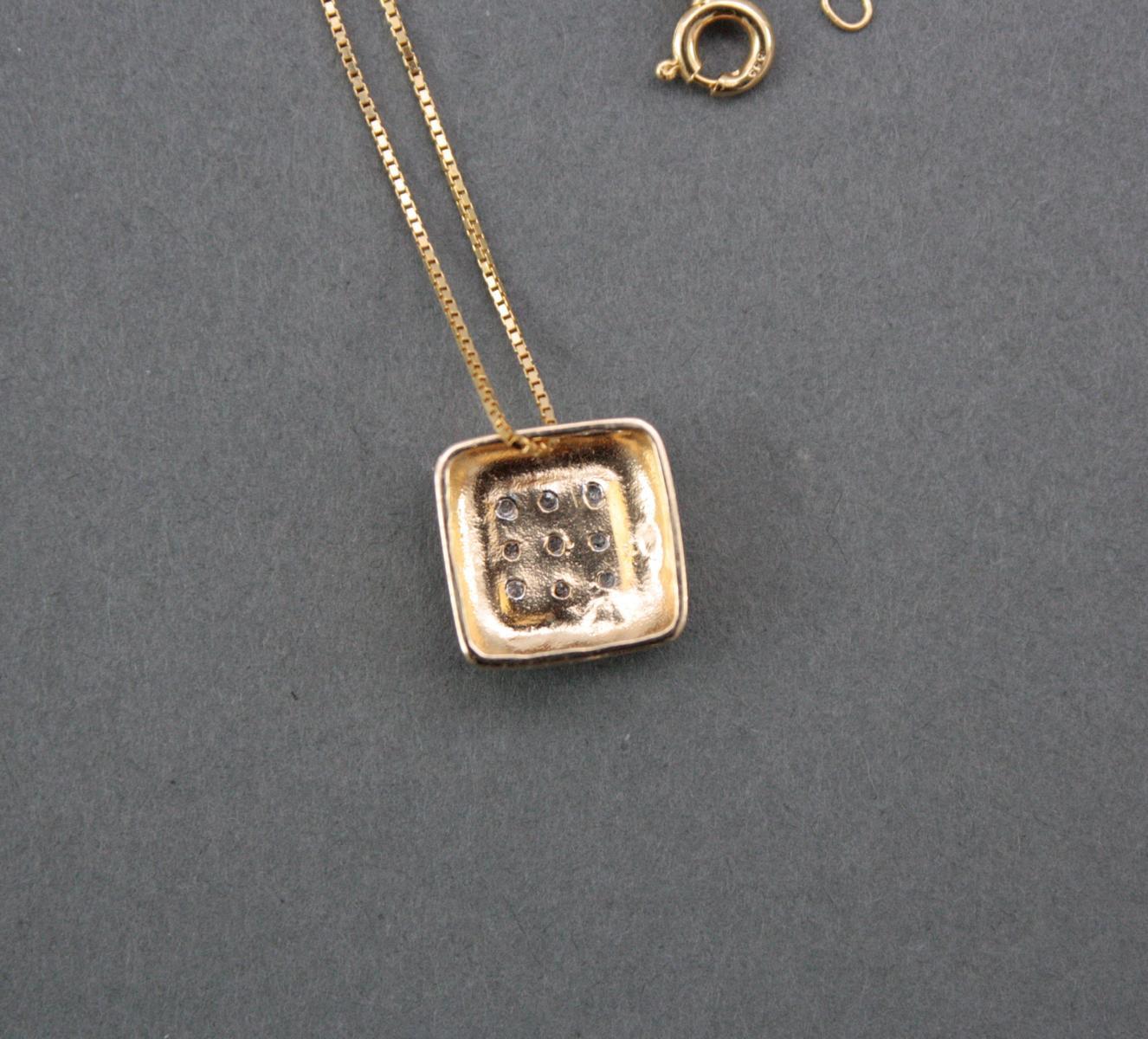 Halskette mit Diamantanhänger, 14 Karat Gelbgold-3