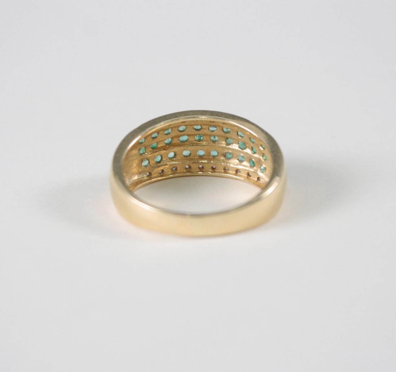 Damenring mit Smaragden und Diamanten, 14 Karat Gelbgold-3