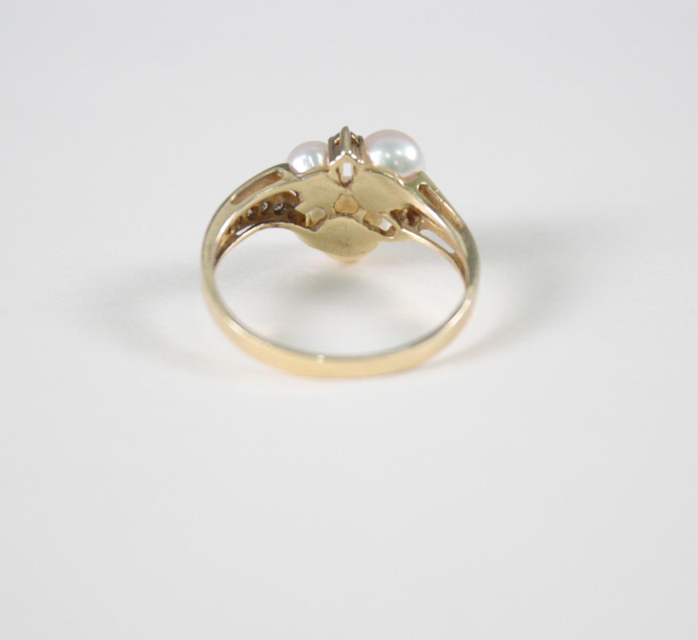 Damenring mit Perlen und  Diamanten, 14 Karat Gelbgold-3