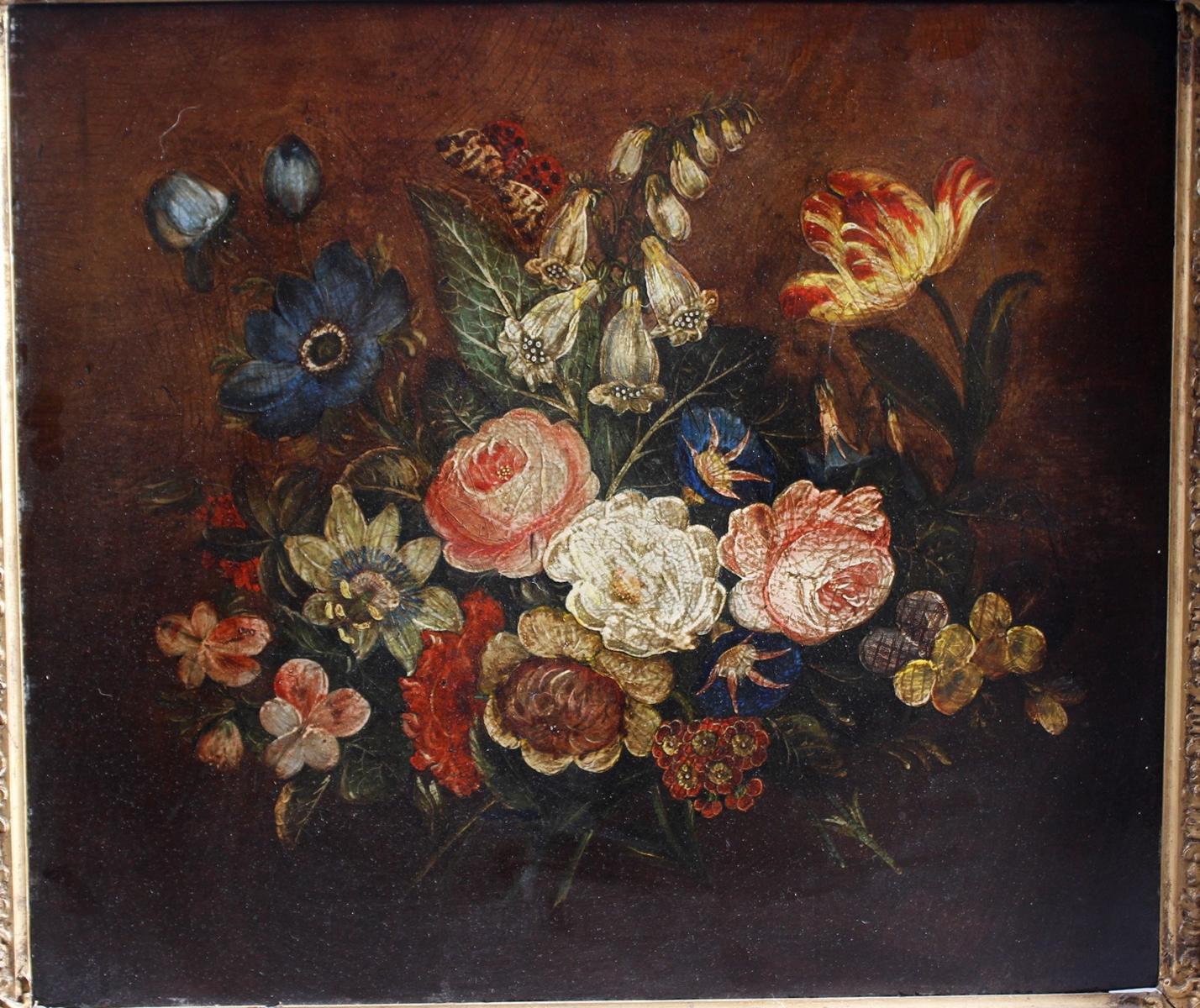 Unbekannter Künstler um 1900, Blumenstilleben mit Insekten-2