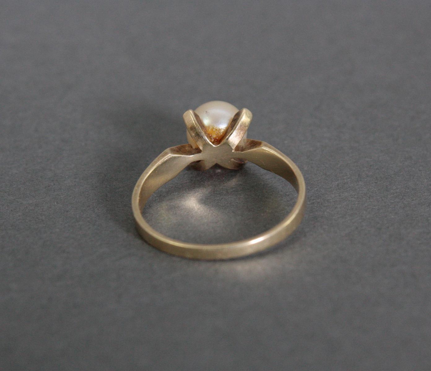 Damenring mit Perle, 14 Karat Gelbgold-3