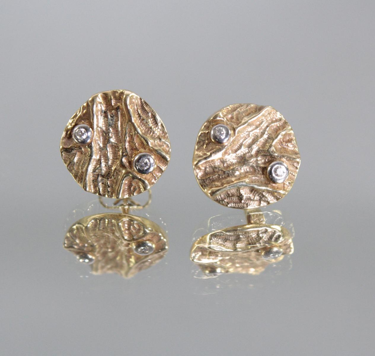 Paar Ohrringe mit Diamanten, 14 Karat Gelbgold