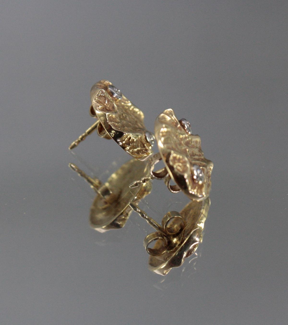 Paar Ohrringe mit Diamanten, 14 Karat Gelbgold-2